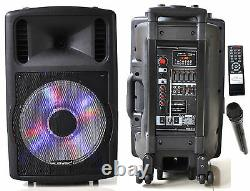 1200W Professional 12 Speaker PA System Wireless Mic Bluetooth Rechargeable