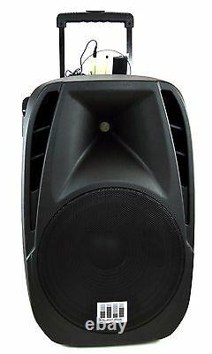 1600W Professional 15 Speaker PA System 2 Wireless Mics Bluetooth Rechargeable