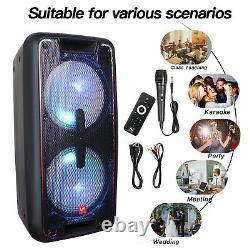 3000W Dual 10 Rechargable Powered Speaker DJ PA karaoke System Bluetooth withLED