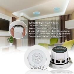 3.5 Bluetooth Ceiling/Wall Speakers, 4 2-Way Speakers with Built-in LED Light