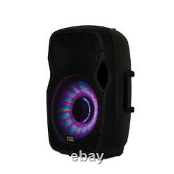 Acoustic Audio AA15LBS Powered 1000W 15 Bluetooth LED Speaker with Mic & Stand