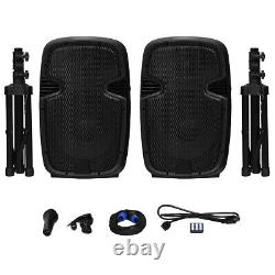 Dual 12 2-way 1600W Powered Speakers with Bluetooth Mic Speaker Stands Control