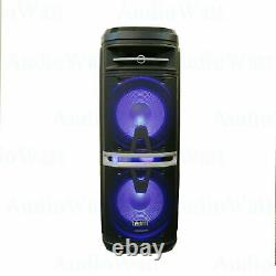 EMB 4000W Dual 10 Rechargeable Powered BT Speaker DJ PA Karaoke System withLed