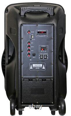 Fully Amplified Portable 2200 Watts 15 Speaker WITH MICROPHONE& STAND INCLUDED