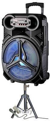 Fully Amplified Portable 4500 Watts 15 Speaker WITH MICROPHONE& STAND INCLUDED