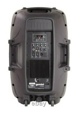 Gemini 15-inch 2000W Powered Bluetooth Party DJ Speaker with Stand Mic Remote
