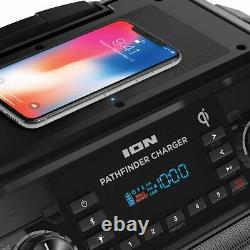 ION Pathfinder, Bluetooth Portable Speaker with Wireless Qi Charging Black