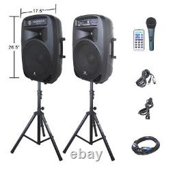 PRORECK 2000W 15 Powered DJ PA Speaker System Mixer+Stands Bluetooth/USB/SD/LED