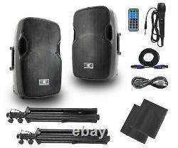 Powered PA Speakers, 12 Inch 2-Way DJ Speakers System Pair-Bulit in USB/SD/FM/AUX