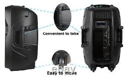 Powered PA Speakers 2-Way 15 Inch Pair, Portable DJ speakers system-USB FM AUX-IN