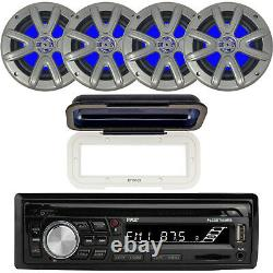 Pyle Bluetooth CD MP3 Marine Stereo + Cover, 4x 6.5 Marine Boat Speakers Bundle