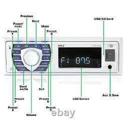 Pyle Bluetooth Marine Stereo Receiver, and 4x 6.5 Waterproof Speakers (White)
