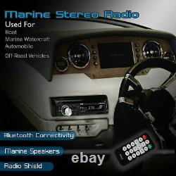 Pyle Marine Bluetooth Receiver Stereo System with 2 Pair 6.5 Inch Speakers, Black