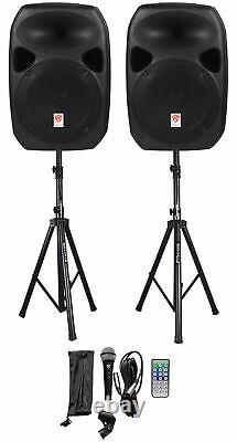 Rockville (2) 12 Bluetooth PA Church Speakers+Mic+Stands 4 Church Sound Systems