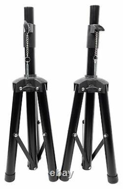 Rockville RPG082K Dual 8 Powered PA System Speakers/Bluetooth+Mic+Stands+Cables