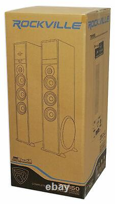 Rockville TM150C Cherry Powered Home Theater Tower Speakers 10 Sub/Blueooth/USB