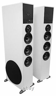 Rockville TM150W White Powered Home Theater Tower Speakers 10 Sub/Blueooth/USB