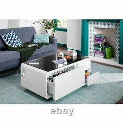 Smart Coffee Table With Refrigerator Bluetooth Speakers USB Charger white only