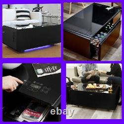 Smart Coffee Table with Refrigerator Drawer, USB ports, Bluetooth speaker In Black